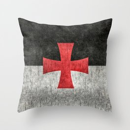 Knights Templar Flag in Super Grunge Throw Pillow