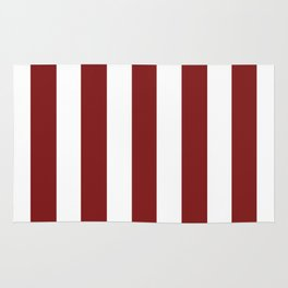 Falu red - solid color - white vertical lines pattern Rug