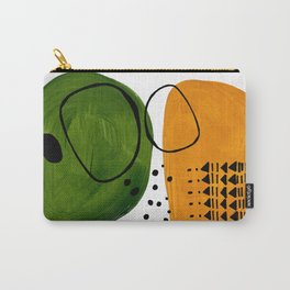 Modern Mid Century Fun Colorful Abstract Minimalist Painting Olive Green Yellow Ochre Buns Carry-All Pouch