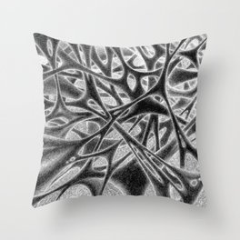 Panic with White Scribbles Throw Pillow