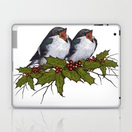 Christmas Illustration: Singing Birds With Holly Leaves, Twigs Laptop & iPad Skin