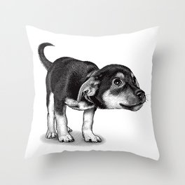 Cute cautious puppy wagging it's tail. Throw Pillow