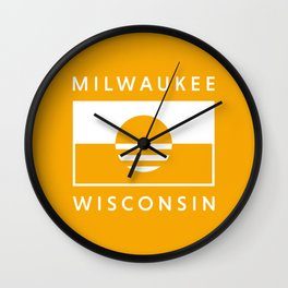 Milwaukee Wisconsin - Gold - People's Flag of Milwaukee Wall Clock
