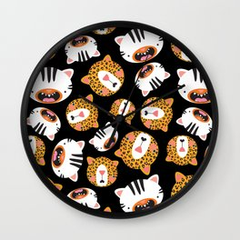 Happy Jungle Kitties (Black) Wall Clock