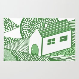 Welsh house of lines green Rug