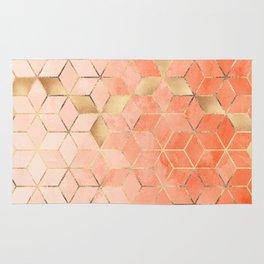 Soft Peach Gradient Cubes Rug