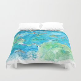 Caribbean Cruise Travel Poster Map Antilles West Indies Cuba Florida Duvet Cover