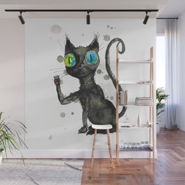 Black kitty Wall Mural