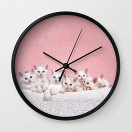 Bedtime for Seven Fluffy White Kittens Wall Clock