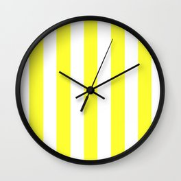 Yellow (RYB) - solid color - white vertical lines pattern Wall Clock