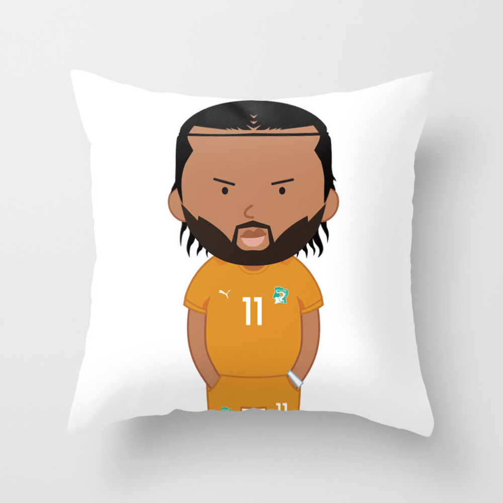 Didier Drogba - Ivory Coast - World Cup 2014 Throw Pillow by Toonsoccer PLW9022451