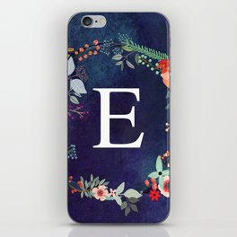 Personalized Monogram Initial Letter E Floral Wreath Artwork iPhone Skin