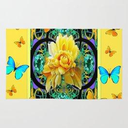 Butter Yellow Aqua  Butterflies Yellow Rose Art Rug