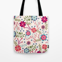 Colorful Floral Spring Pattern Tote Bag