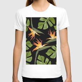 Strelitzia and Monstera black T-shirt