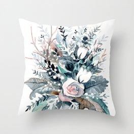 Frostflowers Throw Pillow