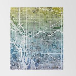 Portland Oregon City Map Throw Blanket