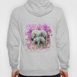 Elephant art mother child pink floral Hoody