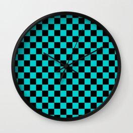Black and Cyan Checkerboard Wall Clock
