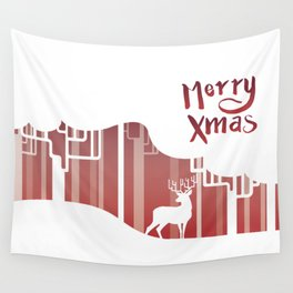 Deer in Red Forest Wall Tapestry