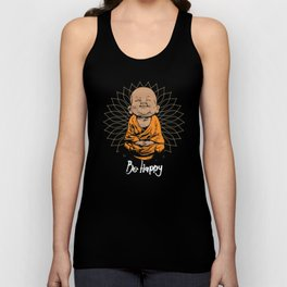 Be Happy Little Buddha Unisex Tank Top
