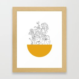 VESSEL - Floral Ink in Mustard - Cooper and Colleen Framed Art Print