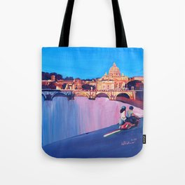 Rome Scene with Motorcycle and view of Vatican with Dome of St Peter Tote Bag