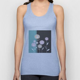 Floral applique . Retro . Unisex Tank Top