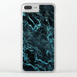 Black & Teal Color Marble Clear iPhone Case
