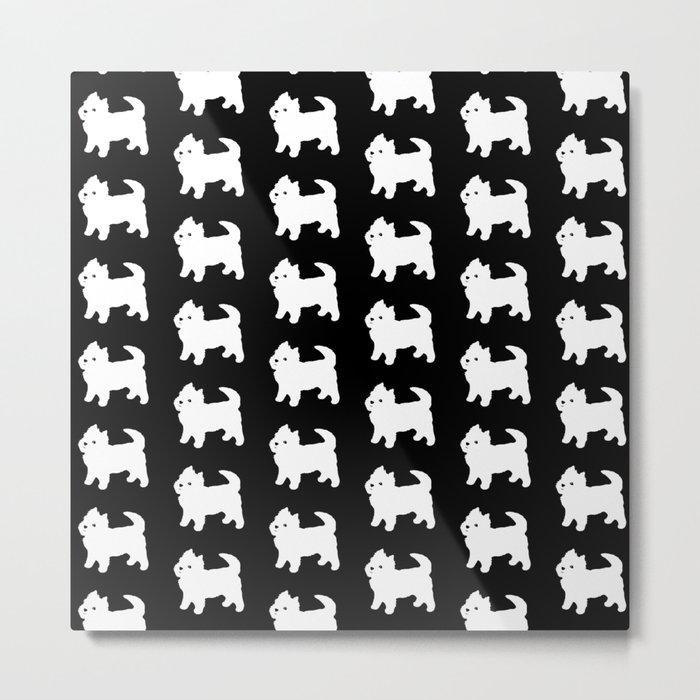 Westie Dog Pattern Metal Print