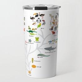 Evolution in biology, scheme evolution of animals on white. children's education back to scool Travel Mug