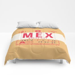 Retro Airline Luggage Tag 2.0 - MEX Mexico City International Airport Mexico Comforters