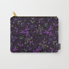 Purple Night Glow Flower Meadow , Rich Fuchsia Pink and Lilac Blooms Glowing in the Dark Black Night Carry-All Pouch