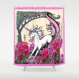 Prancing Unicorn in Pink Flowers Glade Fantasy Art Shower Curtain