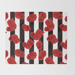 Red poppies on a black and white striped background. Throw Blanket