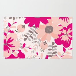 Big Flowers in Hot Pink and Accent Gray Rug