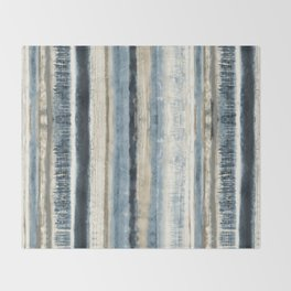 Distressed Blue and White Watercolor Stripe Throw Blanket