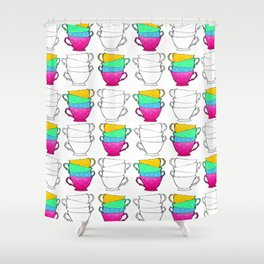 Tea Cup Pattern Shower Curtain
