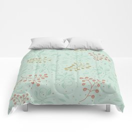 Leaves and fruits pattern in a green background Comforters