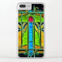 Mausoleum Stained Glass Clear iPhone Case