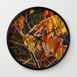 Fall Sumac Leaves during a Michigan Autumn Wall Clock