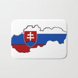 Slovakia Map with Slovakian Flag Bath Mat