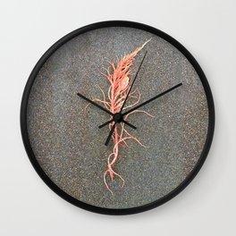 Coral Colored Seaweed Wall Clock