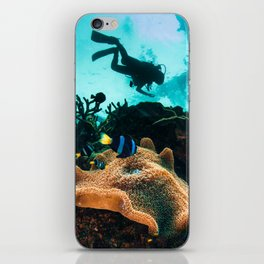 Colourful seascape with diver silhouette iPhone Skin