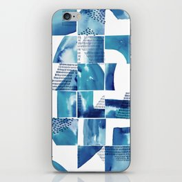 Blue Watercolor Typographical Fragments Cheater Quilt iPhone Skin
