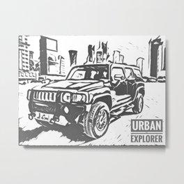 Urban Explorer - Hummer H3 Scetch Metal Print