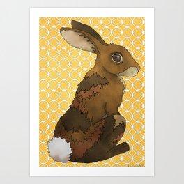 Bunny Rabbit on Yellow Art Print