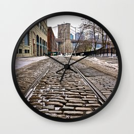 Brooklyn Bridge snow Dumbo Wall Clock