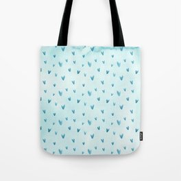 Hand painted pastel blue watercolor hearts pattern Tote Bag