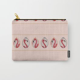 the royal pink flamingo king and queen stripe pattern in vintage pink Carry-All Pouch